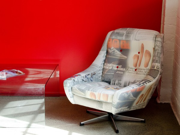 I printed a collage of iconic corporate images on hemp fabric to create these one off chairs for New Balance showrooms.